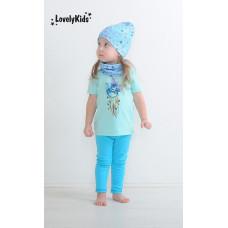 Комплект шапка и снуд Звёздный дождь (светлый джинс)