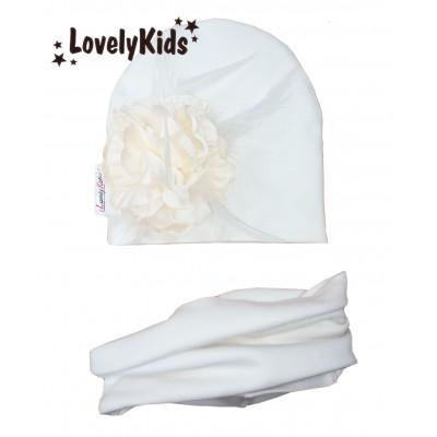 Комплект шапка и снуд экрю с цветком